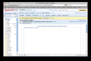 La stessa newsletter aperta in Yahoo! Mail